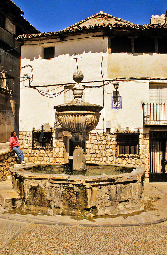 Spain. Pastrana near Guadalajara.  Fountain and square. Castile la Mancha. Model released.