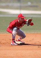 March 19, 2010:  Second Baseman Aaron Luna of the St. Louis Cardinals organization during Spring Training at the Roger Dean Stadium Complex in Jupiter, FL.  Photo By Mike Janes/Four Seam Images