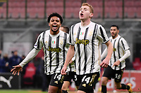 Weston McKennie of Juventus FC celebrates after scoring the goal of 1-3 during the Serie A football match between AC Milan and Juventus FC at San Siro Stadium in Milano  (Italy), January 6th, 2021. Photo Federico Tardito / Insidefoto