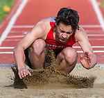 WINSTED, CT 051121JS15—Northwesters Liam Lavery competes in the long jump during their meet with Thomaston Tuesday at Northwestern Regional High School. <br /> Jim Shannon Republican American