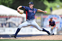 Rome Braves starting pitcher pitcher Joey Wentz (22) delivers a pitch during a game against the Asheville Tourists at McCormick Field on July 30, 2017 in Asheville, North Carolina. The Braves defeated the Tourists 7-3. (Tony Farlow/Four Seam Images)