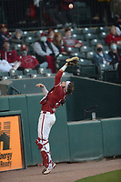 Arkansas Friday, April 2, 2021, during the inning of play against Auburn at Baum-Walker Stadium in Fayetteville. Visit nwaonline.com/210403Daily/ for today's photo gallery. <br /> (NWA Democrat-Gazette/Andy Shupe)