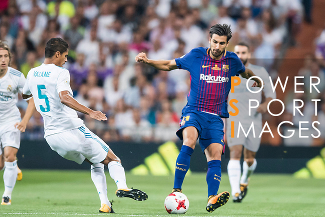Andre Filipe Tavares Gomes of FC Barcelona in action during their Supercopa de Espana Final 2nd Leg match between Real Madrid and FC Barcelona at the Estadio Santiago Bernabeu on 16 August 2017 in Madrid, Spain. Photo by Diego Gonzalez Souto / Power Sport Images