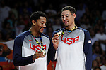 United State´s Thompson and Rose pose with the golden medal during FIBA Basketball World Cup Spain 2014 final award ceremony after winning against Serbia at `Palacio de los deportes´ stadium in Madrid, Spain. September 14, 2014. (ALTERPHOTOSVictor Blanco)