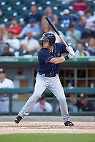 Jim Adduci (23) of the Toledo Mud Hens at bat against the Charlotte Knights at BB&T BallPark on June 22, 2018 in Charlotte, North Carolina. The Mud Hens defeated the Knights 4-0.  (Brian Westerholt/Four Seam Images)