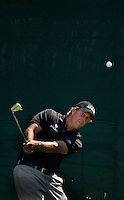PGA golfer Phil Mickelson watches a chip shot during the 2008 Wachovia Championships at Quail Hollow Country Club in Charlotte, NC.