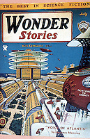 """Utopia:  City of Tomorrow. Frank R. Paul, WONDER STORIES, July 1934. """"Paul's work is synonymous with the image of the future in American Sci-Fi pulps"""".  Jos. J. Corn & Brian Horrigan, YESTERDAY'S TOMORROWS."""