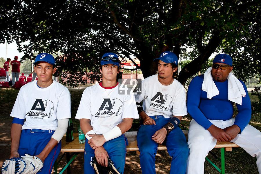 Baseball - 2009 European Championship Juniors (under 18 years old) - Bonn (Germany) - 06/08/2009 - Day 4 - Amin Touahri, Maxime Lefevre, Thomas Medina, Carlos Jiminian (France)