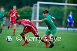 Kerry's Alex Hennigan and Kieran Hodan of Cork City keep their eye on the ball in the U17 Mark Farran Cup