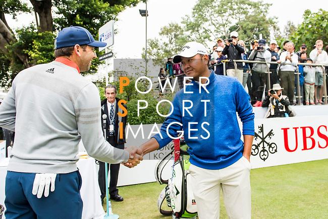 Sergio Garcia of Spain and Danny Chia of Malaysia shake hands during the day three of UBS Hong Kong Open 2017 at the Hong Kong Golf Club on 25 November 2017, in Hong Kong, Hong Kong. Photo by Marcio Rodrigo Machado / Power Sport Images