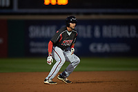 Lake Elsinore Storm third baseman Hudson Potts (15) takes a lead off second base during a California League game against the Rancho Cucamonga Quakes at LoanMart Field on May 19, 2018 in Rancho Cucamonga, California. Lake Elsinore defeated Rancho Cucamonga 10-7. (Zachary Lucy/Four Seam Images)