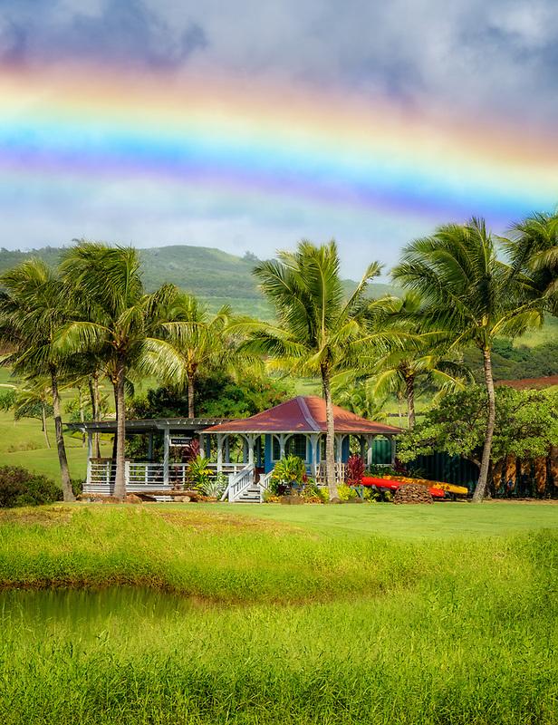 Cottage  with rainbow. Kauai, HJawaii