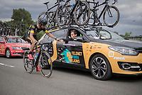 CX pro-rider Quinten Hermans (BEL/Telenet Fidea Lions) getting a 'well done kid'-salute by DS Sven Vanthourenhout in the final lap of the race<br /> <br /> 2017 National Championships Belgium - Elite Men - Road Race (NC)<br /> 1 Day Race: Antwerpen > Antwerpen (233km)