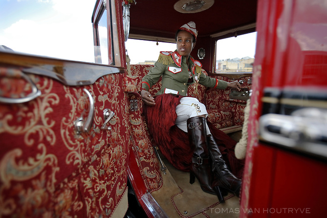 Tonya Graves, an American singer, sits in the back of a 1927 Praga car (formerly owned by Jan Masaryk, son of the the first president of Czechoslovakia) in preparation for a photo shoot with her Czech band Monkey Business in Prague, Czech Republic on 12 May 2007. Graves performs with several bands around the Czech Republic