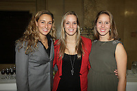 October 29 2012 - Montreal, Quebec, CANADA - Gerald Tremblay, Mayor of Montreal receive at City Hall  local athletes who took part in London 2012  Olympics and Paralympics games. IN PHOTO : Elise Marcotte, Valerie welsh, Stephanie Durocher
