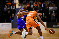 Kerwin Roach of the Wellington Saints and Courtney Belger of the Southland Sharks during the round two NBL match between the Wellington Saints and the Southland Sharks at TSB Bank Arena, Wellington, New Zealand on Friday 7 May 2021.<br /> Photo by Masanori Udagawa. <br /> www.photowellington.photoshelter.com