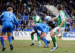 St Johnstone v Hibs....05.03.11 .Darryl Duffy handles the ball i the box just before Hibs score the equaliser.Picture by Graeme Hart..Copyright Perthshire Picture Agency.Tel: 01738 623350  Mobile: 07990 594431
