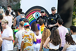 © Joel Goodman - 07973 332324 - all rights reserved . 25/08/2019. Manchester, UK. Armed police patrol in and outside the venue as fans of Ariana Grande and other musical acts arrive at Mayfield Depot ahead of performances this evening . Manchester's annual Gay Pride festival , which is the largest of its type in Europe , celebrates LGBTQ+ life . Photo credit : Joel Goodman