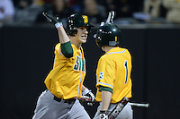 Siena Saints outfielder Dan Swain (22) high fives Tyler Martis (1) after hitting a home run during the season opening game against the Central Florida Knights at Jay Bergman Field on February 14, 2014 in Orlando, Florida.  UCF defeated Siena 8-1.  (Mike Janes/Four Seam Images)