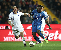 Football: Euro 2020 Group J qualifying football match Italy vs Finland at the Friuli Stadium in Udine on march  23, 2019<br /> Italy's Moise Kean (r) is going to score contrasted by Finland's Paulus Arajuuri (l) during the Euro 2020 qualifying football match between Italy and Finland at the Friuli Stadium in Udine, on march 23, 019<br /> UPDATE IMAGES PRESS/Isabella Bonotto