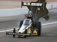 Mar 30, 2014; Las Vegas, NV, USA; NHRA top fuel driver Tony Schumacher during the Summitracing.com Nationals at The Strip at Las Vegas Motor Speedway. Mandatory Credit: Mark J. Rebilas-