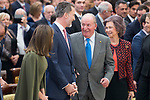 Queen Letizia of Spain, King Felipe VI of Spain, King Juan Carlos I of Spain and Queen Sofia of Spain attends to National Sport Awards 2016 at El Pardo Palace in Madrid , Spain. February 19, 2018. (ALTERPHOTOS/Borja B.Hojas)