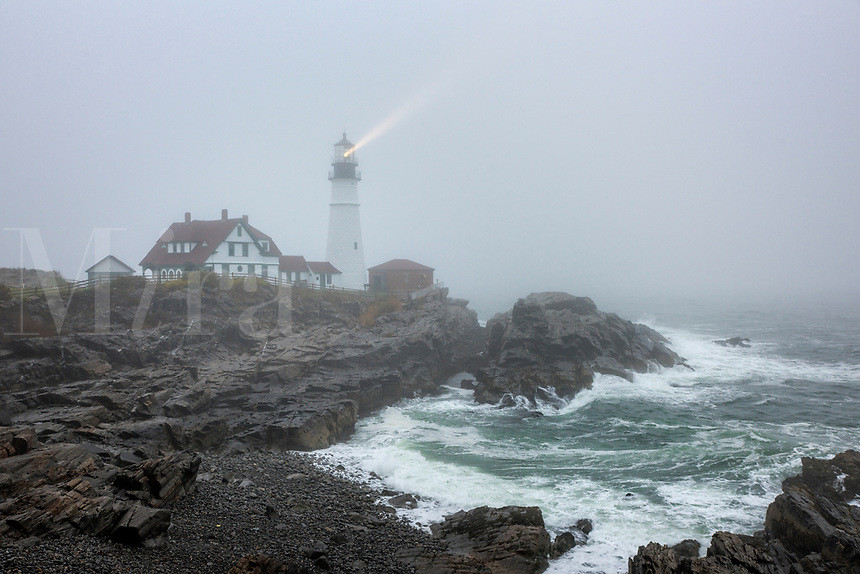 Portland Head Lighthouse during coastal storm, Cape Elizabeth, Maine, USA.