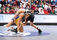 STANFORD, CA - March 7, 2020: Russell Rohlfing of Cal State Bakersfield and Require van Der Merwe of Stanford during the  2020 Pac-12 Wrestling Championships at Maples Pavilion.