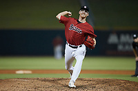 Birmingham Barons relief pitcher Jake Elliott (33) in action against the Mississippi Braves at Regions Field on August 3, 2021, in Birmingham, Alabama. (Brian Westerholt/Four Seam Images)