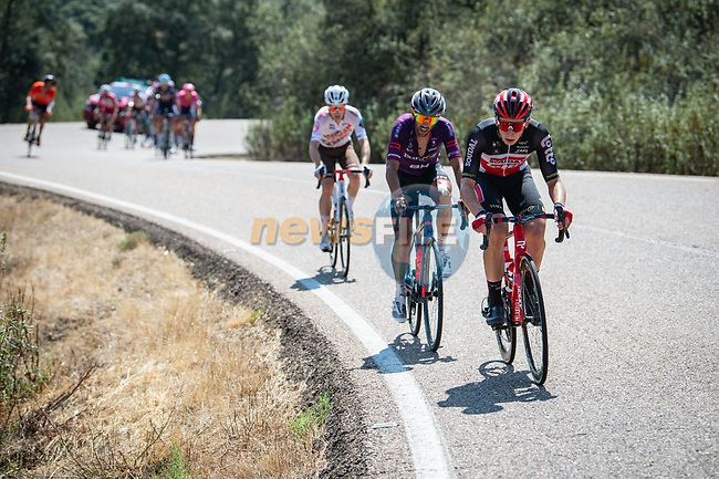 The breakaway during Stage 14 of La Vuelta d'Espana 2021, running 165.7km from Don Benito to Pico Villuercas, Spain. 28th August 2021.     <br /> Picture: Cxcling | Cyclefile<br /> <br /> All photos usage must carry mandatory copyright credit (© Cyclefile | Cxcling)
