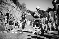 Geraint Thomas (GBR/SKY) 'cheered' up the Lacets du Grand Colombier (Cat1/891m/8.4km/7.6%)<br /> <br /> stage 15: Bourg-en-Bresse to Culoz (160km)<br /> 103rd Tour de France 2016