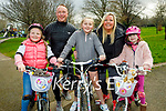 The Leane family enjoying a stroll in the Tralee town park on Thursday, front l to r: Mia, Taylor Kate and Caoimhe Leane. Back: Danny and Clare Leane.
