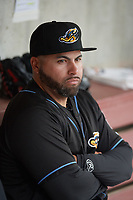 Akron RubberDucks coach Omir Santos (36) in the dugout before a game against the Binghamton Rumble Ponies on May 12, 2017 at NYSEG Stadium in Binghamton, New York.  Akron defeated Binghamton 5-1.  (Mike Janes/Four Seam Images)