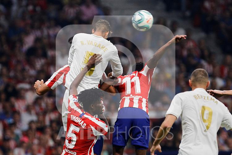 Thomas Lemar of Atletico de Madrid and Raphael Varane of Real Madrid during La Liga match between Atletico de Madrid and Real Madrid at Wanda Metropolitano Stadium in Madrid, Spain. September 28, 2019. (ALTERPHOTOS/A. Perez Meca)