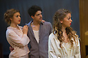 London, UK. 09.10.2014. Mountview Academy of Theatre Arts presents CURTAINS, at the Bernie Grant Arts Centre. Picture shows: Lottie Henshall (GEORGIA HENDRICKS), Manuel Beltrán Pacific (BOBBY PEPPER) and Charlotte Kennedy (NIKI HARRIS). Photograph © Jane Hobson.