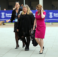 Pictured: Julie James AM (C) and Kirsty Williams AM (R) arrive at Swansea University Bay Campus. Saturday 14 October 2017<br /> Re: Hilary Clinton, the former US secretary of state and 2016 American presidential candidate will be presented with an honorary doctorate during a ceremony at Swansea University's Bay Campus in Wales, UK, to recognise her commitment to promoting the rights of families and children around the world.<br /> Mrs Clinton's great grandparents were from south Wales.