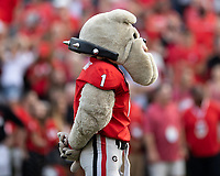 ATHENS, GA - SEPTEMBER 18: Hairy Dawg before a game between South Carolina Gamecocks and Georgia Bulldogs at Sanford Stadium on September 18, 2021 in Athens, Georgia.