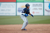 Yohendrick Pinango (15) of the Myrtle Beach Pelicans takes his lead off of second base against the Lynchburg Hillcats at Bank of the James Stadium on May 23, 2021 in Lynchburg, Virginia. (Brian Westerholt/Four Seam Images)