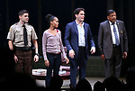 Jeremy Jordan, Kerry Washington, Steven Pasquale and Eugene Lee during the Broadway Opening Night Curtain Call for 'AMERICAN SON' at the Booth Theatre on November 4, 2018 in New York City.
