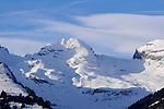 Schweizer Berge, Alvier Kette, im Rheintal des Kanton St. Gallen von Schaan aus gesehen. Swiss mountains Alvier masif in the Rhine Valley seen from Schaan, Liechtenstein.