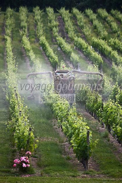 Europe/France/Aquitaine/33/Gironde/Saint-Yzans-de-Médoc: Château  Loudenne- Haut-Médoc - Cru Bourgeois - le vignoble - Traitement des vignes