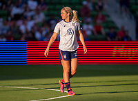 AUSTIN, TX - JUNE 16: Lindsey Horan #9 of the USWNT warms up before a game between Nigeria and USWNT at Q2 Stadium on June 16, 2021 in Austin, Texas.