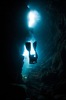 scuba diver at Second Cathedral, Lanai, Hawaii, USA, Pacific Ocean, MR