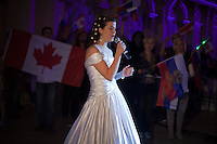 Moscow, Russia, 25/09/2010..Canadian competitor Kirstin Durand performs in the finals of the Karaoke World Championships 2010, where amateur singers from around the world competed for prizes that included one million Russian dumplings.