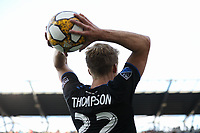 SAN JOSE, CA - SEPTEMBER 29: Tommy Thompson #22 of the San Jose Earthquakes on a throw in during a Major League Soccer (MLS) match between the San Jose Earthquakes and the Seattle Sounders on September 29, 2019 at Avaya Stadium in San Jose, California.