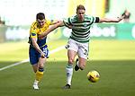 Celtic v St Johnstone…12.05.21  SPFL Celtic Park<br />Glenn Middleton battles with Kristoffer Ajer<br />Picture by Graeme Hart.<br />Copyright Perthshire Picture Agency<br />Tel: 01738 623350  Mobile: 07990 594431