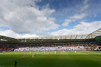 The east stand sponsored by Trade Centre Wales during the Sky Bet Championship match between Swansea City and Bristol City at the Liberty Stadium, Swansea, Wales, UK. Saturday 25 August 2018