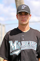 August 22, 2009:  GCL Marlins pitcher Bryan Berglund before a game at Roger Dean Stadium Complex in Jupiter, FL.  The GCL Marlins are the Short-Season Rookie League affiliate of the Florida Marlins.  Photo By Stacy Grant/Four Seam Images