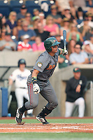 Wilkyns Jimenez (13) of the Boise Hawks bats during a game against the Hillsboro Hops at Ron Tonkin Field on August 22, 2015 in Hillsboro, Oregon. Boise defeated Hillsboro, 6-4. (Larry Goren/Four Seam Images)