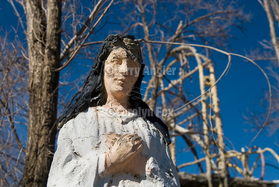 A sculpture of a woman created by by Chief Rolling Mountain Thunder (aka Frank Van Zant, 1921-1989) at his Thunder Mountain Monument park along I-80 near Imlay, Nev. The park was Van Zant's monument to the American Indian.